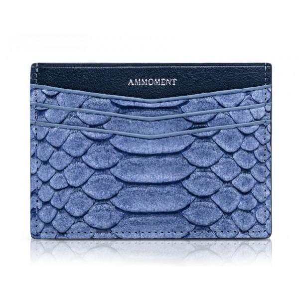 Ammoment - Pitone in Blu Pomice - Astuccio per Carte di Credito in Pelle