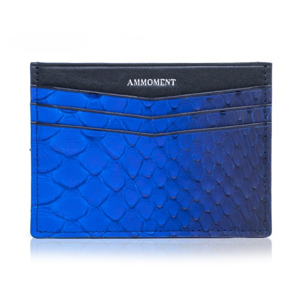 Ammoment - Python in Petale Blue - Leather Credit Card Holder