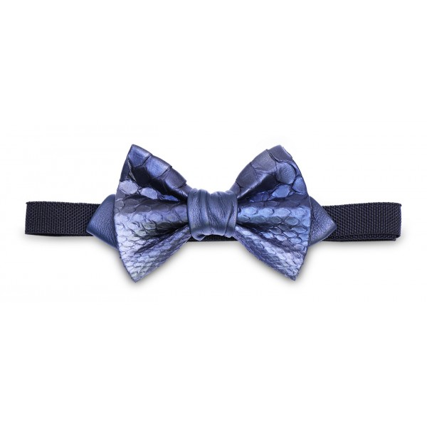 Ammoment - Python in Calcite Blue - Leather Victor Bow Tie