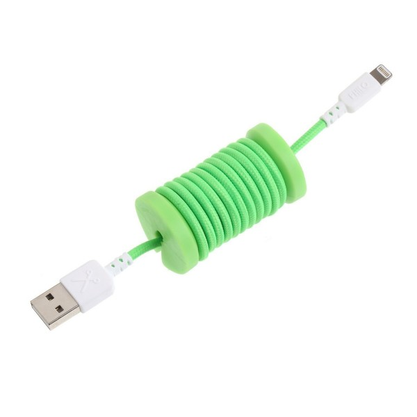 Philo - Lightning MFI Cable and Spool for Apple Device 1 mt - Green - Cables