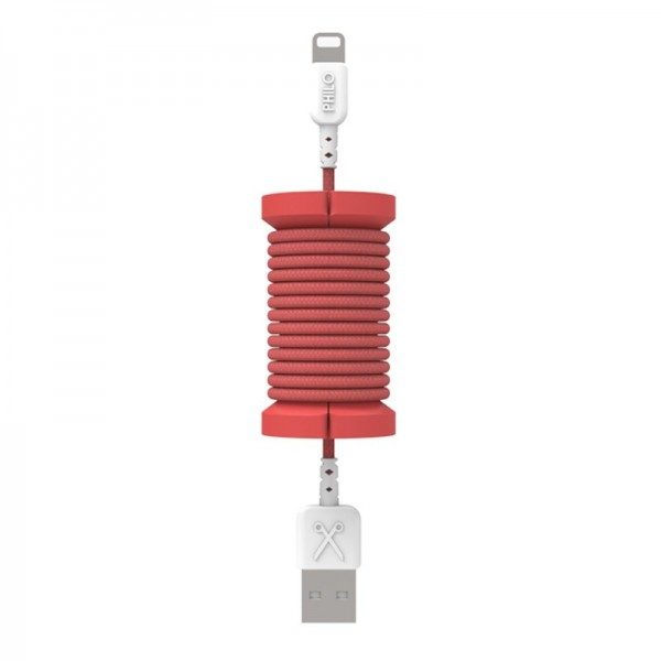 Philo - Lightning MFI Cable and Spool for Apple Device 1 mt - Red - Cables