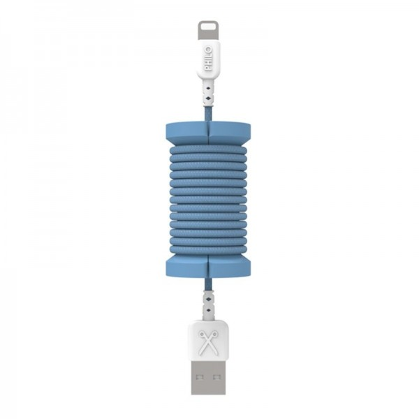 Philo - Lightning MFI Cable and Spool for Apple Device 1 mt - Blue - Cables