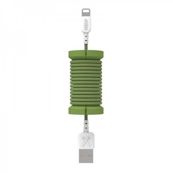 Philo - Cavo e Bobina MFI Lightning per Dispositivo Apple - 1 mt - Verde Militare - Cavi