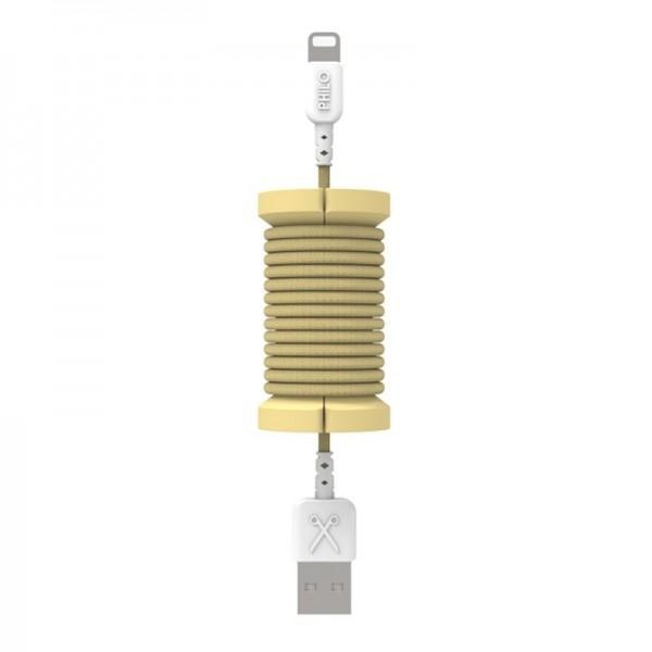 Philo - Cavo e Bobina MFI Lightning per Dispositivo Apple - 1 mt - Oro - Cavi