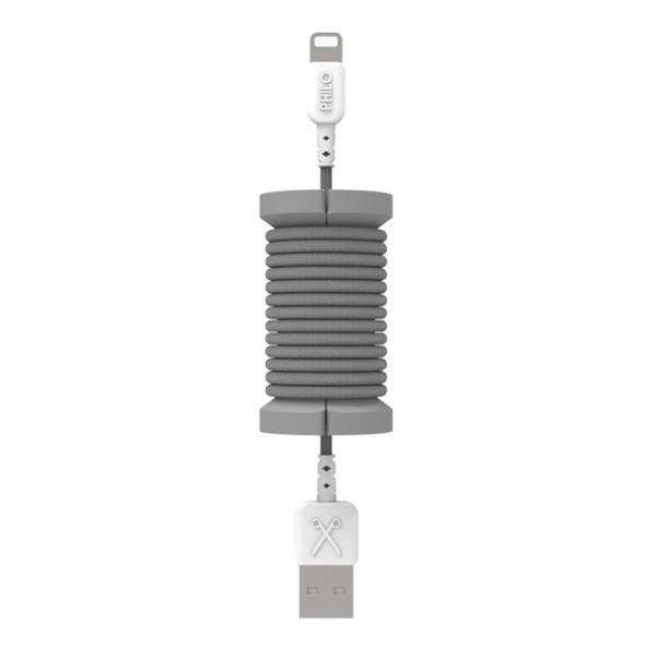 Philo - Lightning MFI Cable and Spool for Apple Device 1 mt - Space Grey - Cables