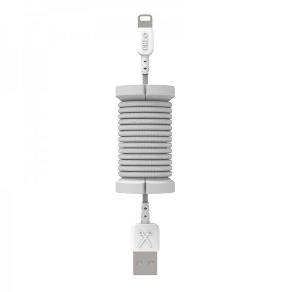 Philo - Lightning MFI Cable and Spool for Apple Device 1 mt - Silver - Cables