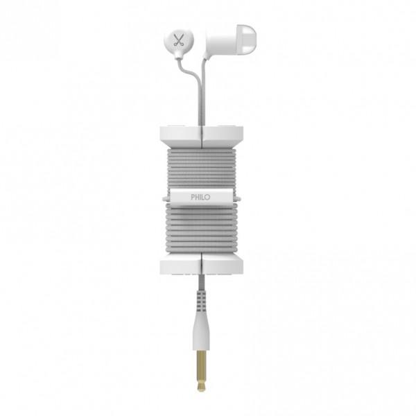Philo - Auricolari con Microfono e Bobina Morbida per Apple e Qualsiasi Dispositivo - Bianco - Auricolari