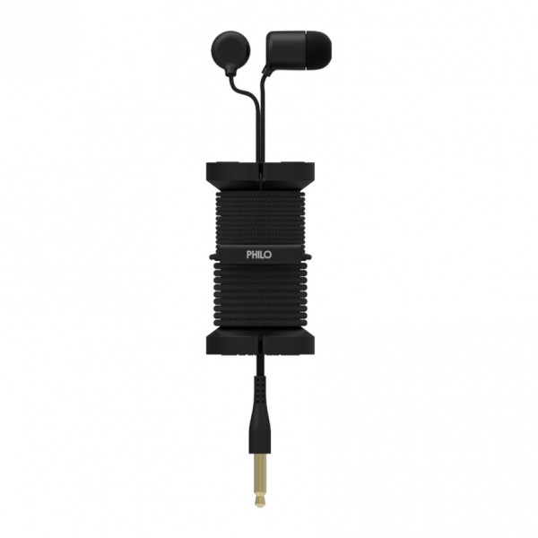 Philo - Earphones with Microphone and Wrap Around Storage Spool for Apple and Any Device - Black - Earphones