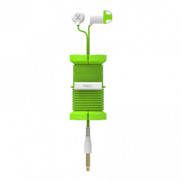 Philo - Earphones with Microphone and Wrap Around Storage Spool for Apple and Any Device - Green - Earphones