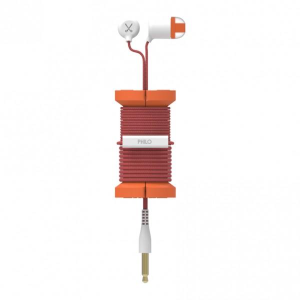 Philo - Auricolari con Microfono e Bobina Morbida per Apple e Qualsiasi Dispositivo - Arancione - Auricolari