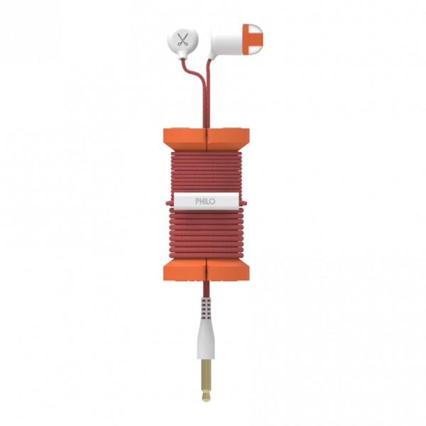 Philo - Earphones with Microphone and Wrap Around Storage Spool for Apple and Any Device - Orange - Earphones