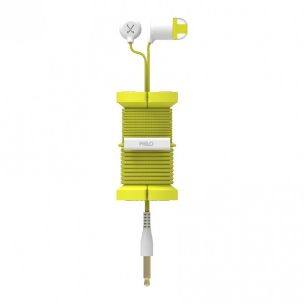 Philo - Earphones with Microphone and Wrap Around Storage Spool for Apple and Any Device - Yellow - Earphones