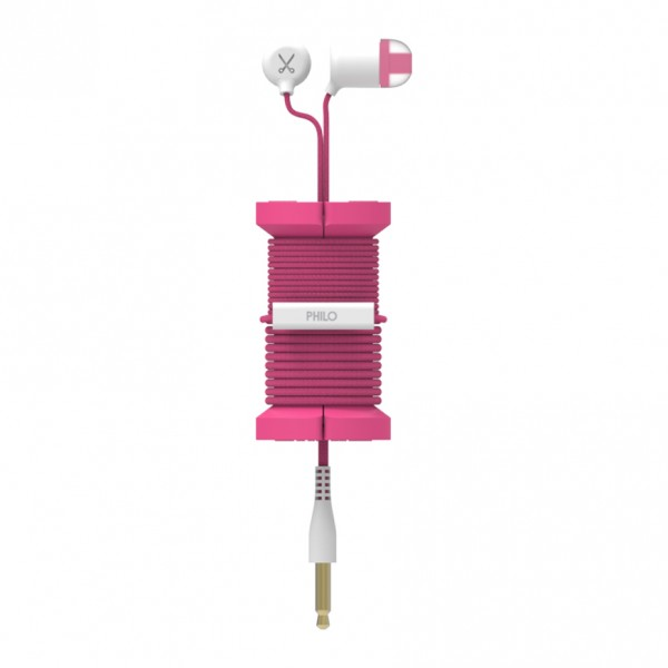 Philo - Earphones with Microphone and Wrap Around Storage Spool for Apple and Any Device - Pink - Earphones