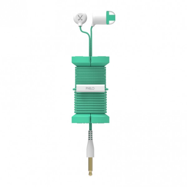 Philo - Earphones with Microphone and Wrap Around Storage Spool for Apple and Any Device - Light Blue - Earphones