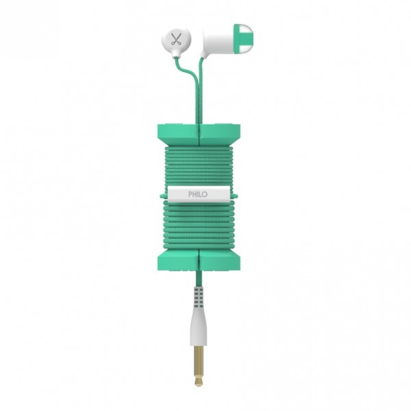 Philo - Auricolari con Microfono e Bobina Morbida per Apple e Qualsiasi Dispositivo - Azzurro - Auricolari