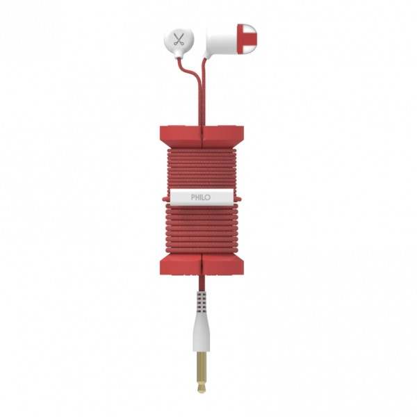 Philo - Earphones with Microphone and Wrap Around Storage Spool for Apple and Any Device - Red - Earphones
