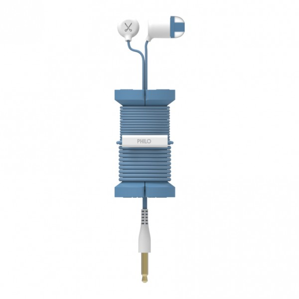 Philo - Earphones with Microphone and Wrap Around Storage Spool for Apple and Any Device - Blue - Earphones
