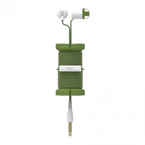 Philo - Auricolari con Microfono e Bobina Morbida per Apple e Qualsiasi Dispositivo - Verde Militare - Auricolari