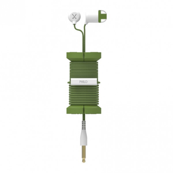 Philo - Earphones with Microphone and Wrap Around Storage Spool for Apple and Any Device - Military Green - Earphones