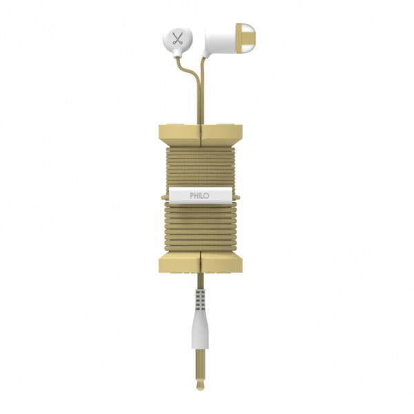Philo - Earphones with Microphone and Wrap Around Storage Spool for Apple and Any Device - Gold - Earphones