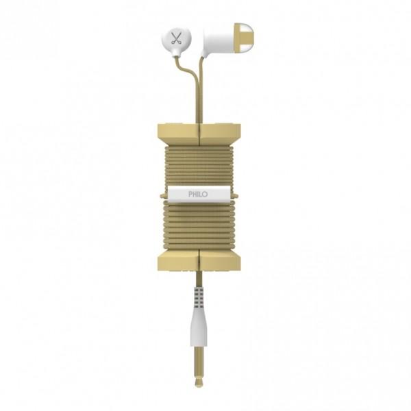 Philo - Auricolari con Microfono e Bobina Morbida per Apple e Qualsiasi Dispositivo - Oro - Auricolari