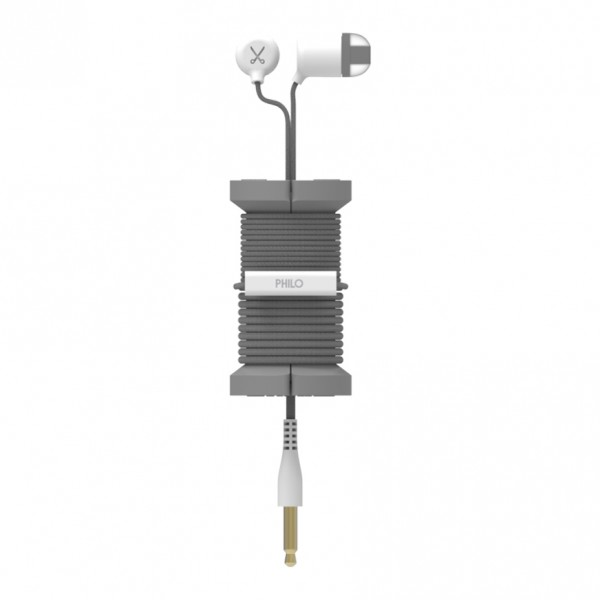 Philo - Earphones with Microphone and Wrap Around Storage Spool for Apple and Any Device - Space Grey - Earphones