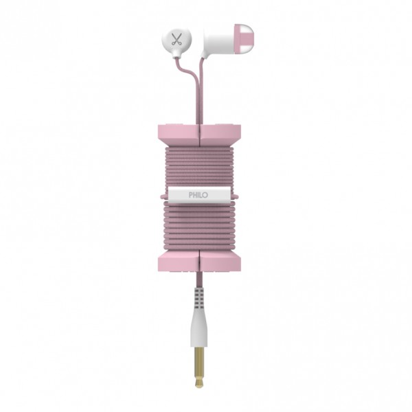 Philo - Earphones with Microphone and Wrap Around Storage Spool for Apple and Any Device - Rose Gold - Earphones