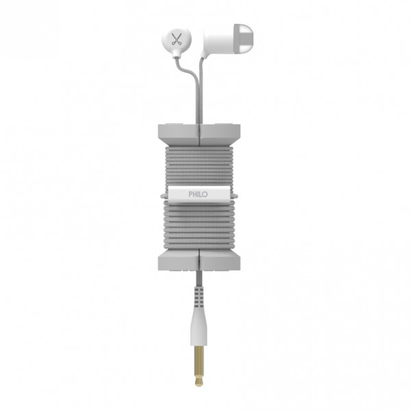 Philo - Earphones with Microphone and Wrap Around Storage Spool for Apple and Any Device - Silver - Earphones
