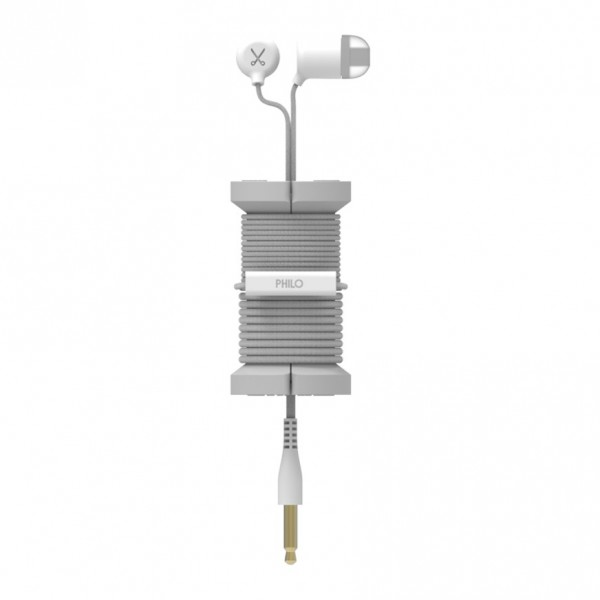 Philo - Auricolari con Microfono e Bobina Morbida per Apple e Qualsiasi Dispositivo - Argento - Auricolari