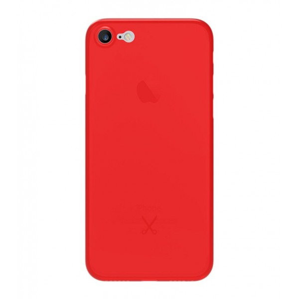 Philo - Cover Ultra Slim 0.3 - Cover PP Ultra Sottile (3 mm) e Super Leggera - Cover Effetto Traslucido - Rosso - iPhone 8 / 7