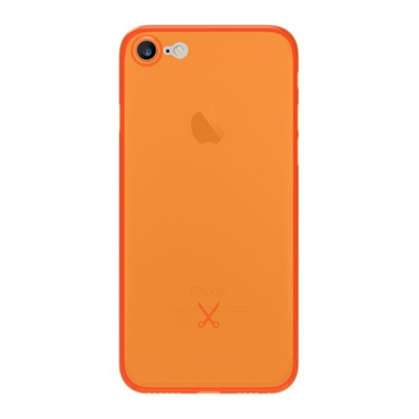 Philo - Cover Ultra Slim 0.3 - Cover PP Ultra Sottile (3 mm) Super Leggera - Cover Effetto Traslucido - Arancione - iPhone 8 / 7