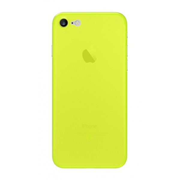 Philo - Cover Ultra Slim 0.3 - Cover PP Ultra Sottile (3 mm) e Super Leggera - Cover Effetto Traslucido - Giallo - iPhone 8 / 7