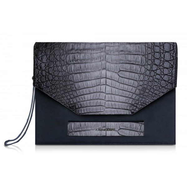 Ammoment - Caiman in Degrade Coal New Age - Leather Pete Clutch Bag