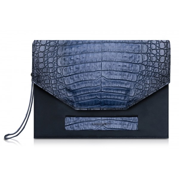 Ammoment - Caimano in Nero Navy Antico - Borsetta Cluth in Pelle
