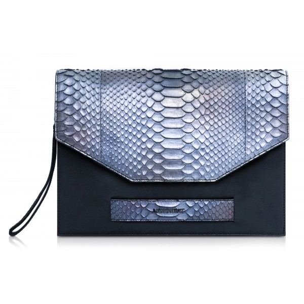Ammoment - Python in Calcite Grey - Leather Pete Clutch Bag