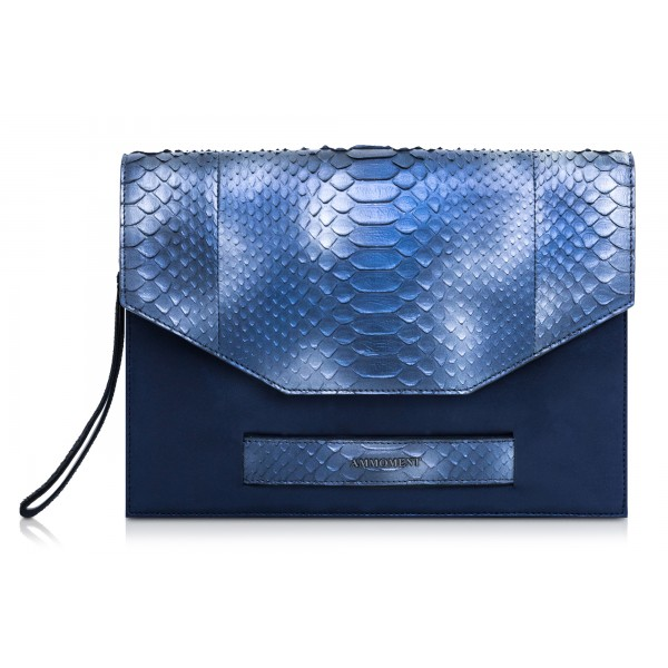 Ammoment - Python in Calcite Blue - Leather Pete Clutch Bag