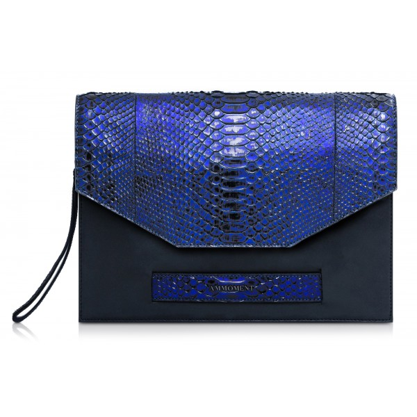 Ammoment - Python in NYX Blue - Leather Pete Clutch Bag