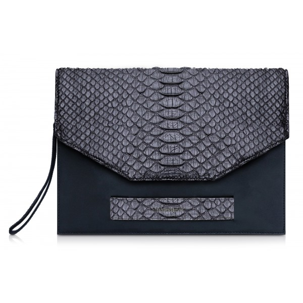 Ammoment - Python in Black - Leather Pete Clutch Bag