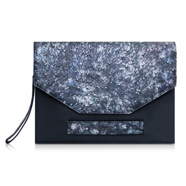 Ammoment - Ostrich in Tahitian Pearl Black - Leather Pete Clutch Bag