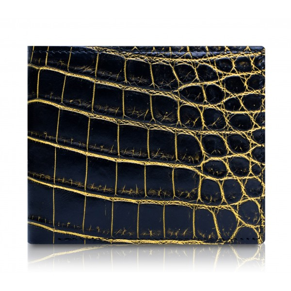 Ammoment - Nile Crocodile in Crack Black and Gold - Leather Bifold Wallet