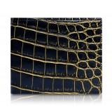 Ammoment - Coccodrillo del Nilo in Nero e Oro - Portafoglio Bi-Fold in Pelle