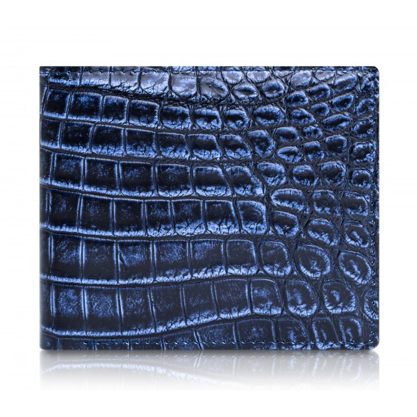 Ammoment - Nile Crocodile in Antique Navy - Leather Bifold Wallet