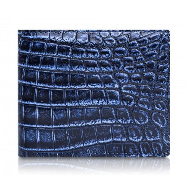 Ammoment - Coccodrillo del Nilo in Navy Antico - Portafoglio Bi-Fold in Pelle