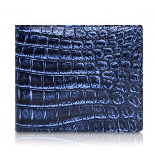 Ammoment - Caiman in Degrade Navy-Black - Leather Bifold Wallet
