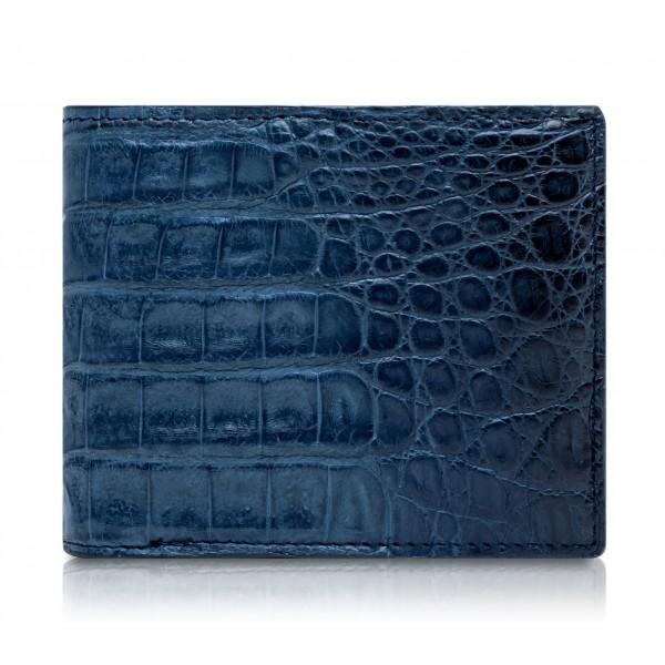 Ammoment - Caiman in Degrade Light-Dark Blue - Leather Bifold Wallet