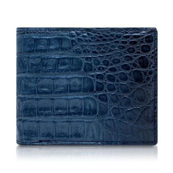 Ammoment - Caimano in Blu Chiaro-Scuro Antico - Portafoglio Bi-Fold in Pelle