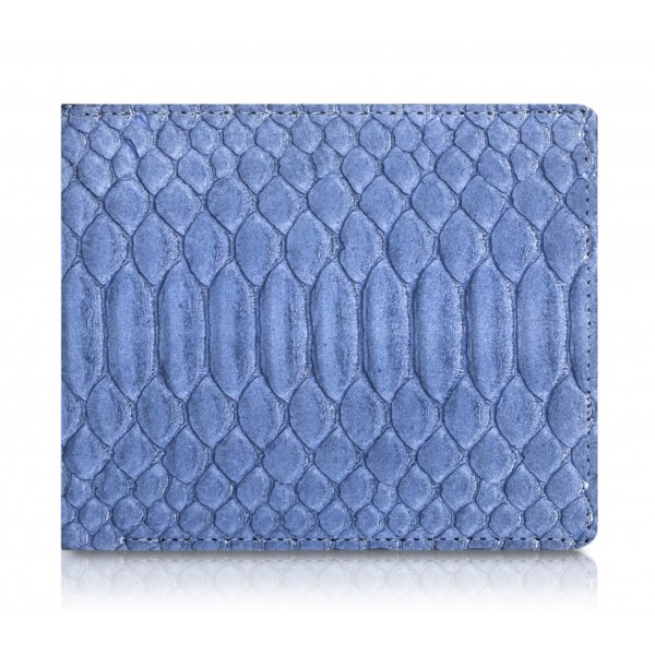 Ammoment - Pitone in Calce Blu - Portafoglio Bi-Fold in Pelle