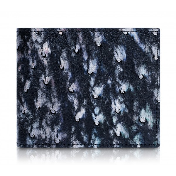 Ammoment - Ostrich in Tahitian Pearl Black - Leather Bifold Wallet