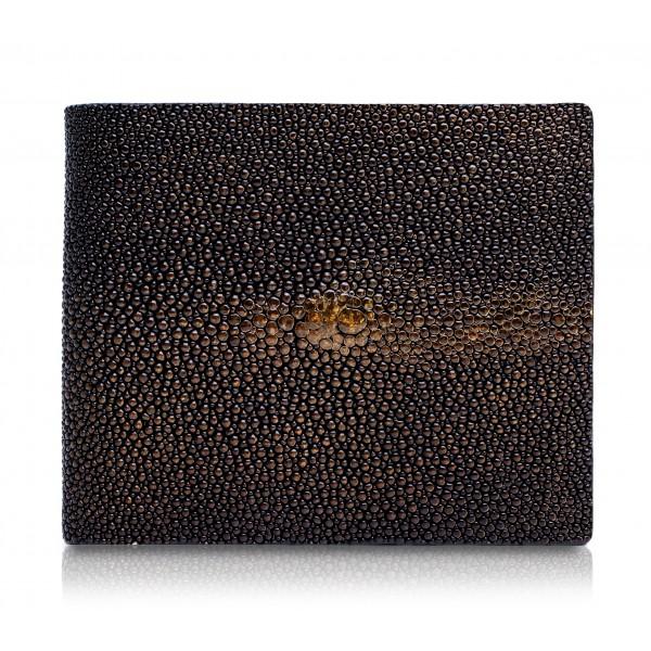 Ammoment - Razza in Glitter Marrone Metallico - Portafoglio Bi-Fold in Pelle