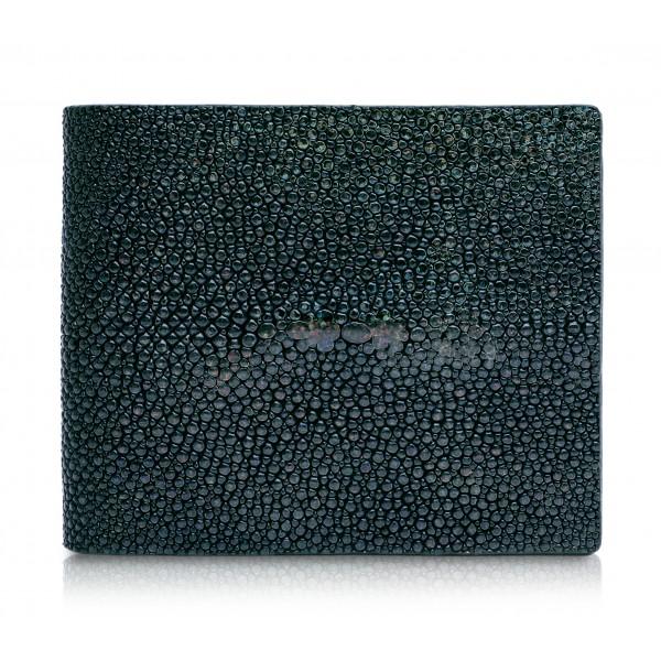 Ammoment - Stingray in Glitter Metallic Green - Leather Bifold Wallet